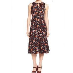 Classique Entier Geometric Stretch Silk Midi Dress